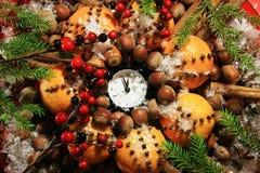 Weihnachtsabend und neue Jahre um Mitternacht Stockfotografie