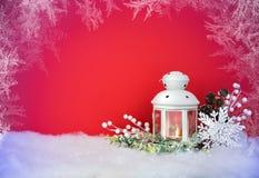 Weihnachtsabends-Laterne und Dekorationshintergrund Stockfotografie