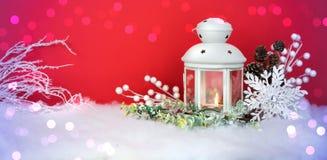 Weihnachtsabends-Laterne und Dekorationshintergrund Lizenzfreies Stockfoto