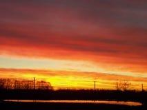 Weihnachtsabends-Sonnenuntergang über Komadi stockfoto