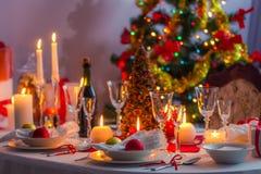 Weihnachtsabends-Tabelle Stockfotografie