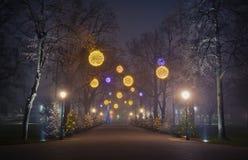 Weihnachtsabendsstraße Stockfoto