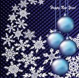 Weihnachtsabstrakter Hintergrund mit Schneeflocken und Weihnachtsspielwaren Lizenzfreies Stockbild