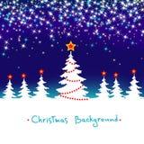Weihnachtsabstrakter Winter-Waldhintergrund Stockfotografie