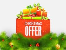 Weihnachtsangebot mit Geschenkboxen vektor abbildung