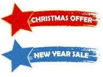 Weihnachtsangebot, Verkauf des neuen Jahres - zwei gezogene Fahnen Stockfotografie