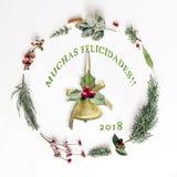 Weihnachtsanordnung für die Dekoration - Trad: Frohe Weihnachten stockfoto