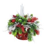 Weihnachtsanordnung für Weihnachtsbälle, Schneeflocken, Kerzen, Stockbilder