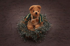 Weihnachtsanordnung mit einem Teddybären Lizenzfreie Stockfotos
