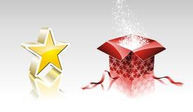 Weihnachtsansammlung mit glänzendem Stern- und Geschenkkasten. Stockfoto
