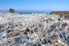 Weihnachtsansicht des ballybunion Schlosses und des Strandes Lizenzfreies Stockbild