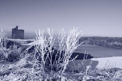 Weihnachtsansicht des ballybunion Schlossstrandes im Schnee Stockbild