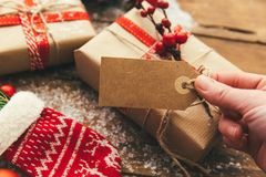 Weihnachtsanwesende Ebenenlage, Raum für einen Grußtext Lizenzfreies Stockbild