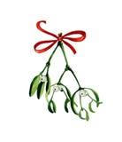 Weihnachtsaquarell mit Mistelzweig auf Weiß Lizenzfreies Stockfoto
