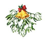 Weihnachtsaquarell mit Mistelzweig, rotem Band und goldenen Glocken Lizenzfreie Stockbilder