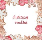 Weihnachtsaquarell-Plätzchenrahmen lizenzfreie abbildung