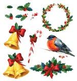 Weihnachtsaquarell stellte mit Stechpalme, rotem Wintervogeldompfaff, Kranz, goldenen Glocken und Zuckerstange ein Stockfoto