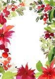 Weihnachtsaquarellkarte Lizenzfreies Stockbild