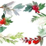 Weihnachtsaquarellkarte Lizenzfreie Stockfotos