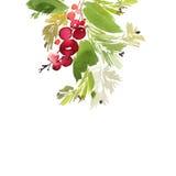 Weihnachtsaquarellkarte Lizenzfreie Stockfotografie