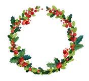 Weihnachtsaquarellkranz mit Stechpalme Stockbilder