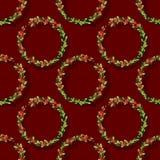 Weihnachtsaquarellkranz mit Stechpalme Stockfotografie