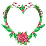 Weihnachtsaquarellschablone mit farbigen Blättern lizenzfreie abbildung