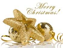 Weihnachtsaufbau mit Kugeln und Sternen Lizenzfreie Stockfotografie