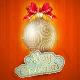Weihnachtsaufkleber auf einem gestrickten Hintergrund ENV 10 Lizenzfreie Stockfotos