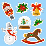 Weihnachtsaufkleber eingestellt Weihnachtselementsatz Lizenzfreies Stockbild