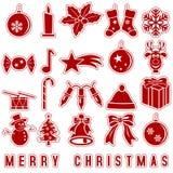 Weihnachtsaufkleber-Ikonen Lizenzfreie Stockbilder