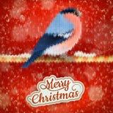 Weihnachtsaufkleber mit Bullfinch ENV 10 Lizenzfreie Stockbilder