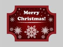 Weihnachtsaufkleber mit Schneeflocken stockfotos