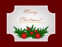 Weihnachtsaufkleber mit Tannenzweigen und Poinsettiablumen lizenzfreie stockfotos