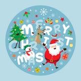 Weihnachtsaufkleber, -Santa Claus und -freunde mit Beschriftung Lizenzfreies Stockfoto