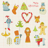 Weihnachtsauslegung-Elemente - für Einklebebuch Lizenzfreie Stockbilder