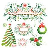 Weihnachtsauslegungelemente und -felder Stockbilder