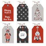 Weihnachtsausweise mit Tieren Bär, Eule Neues Jahr und Weihnachtskarten Stilvolle Tags mit Christus Lizenzfreie Stockbilder