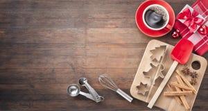 Weihnachtsbäckerei-Holz-Hintergrund Stockfotos