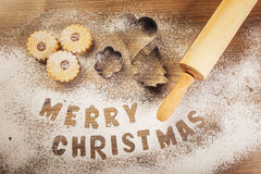 Weihnachtsbäckerei, Untertitel der frohen Weihnachten Stockbilder