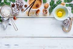 Weihnachtsbäckereihintergrund Lizenzfreies Stockfoto