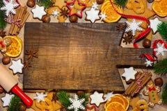Weihnachtsbäckereihintergrund Stockbild