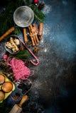 Weihnachtsbäckereihintergrund Lizenzfreie Stockfotografie