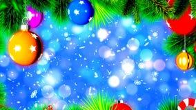 Weihnachtsbälle auf Weihnachtsbaum, abstrakter Loopable-Hintergrund stock footage