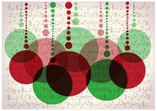 Weihnachtsbälle auf Weinlesemusik merkt Hintergrund Stockfotografie