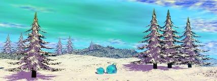 Weihnachtsbälle am Berg - 3D übertragen Lizenzfreies Stockbild