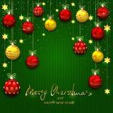Weihnachtsbälle und goldene Sterne auf Grün strickten Hintergrund Lizenzfreies Stockbild