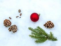 Weihnachtsbälle und -Tannenzweige mit Dekorationen auf weißem Hintergrund Raum für Text Stockbild