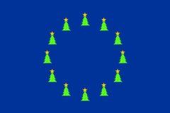 Weihnachtsbäume auf Eu-Markierungsfahne Lizenzfreie Stockfotos