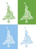 Weihnachtsbäume auf farbigen Hintergründen Stockfoto